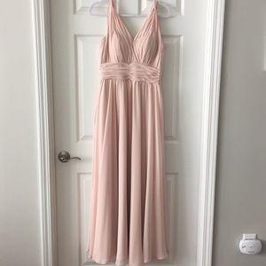 Mori Lee chiffon blush floor length dress!